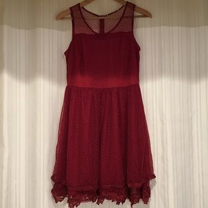 Altar'd State Gorgeous Sleeveless Red Lace Dress